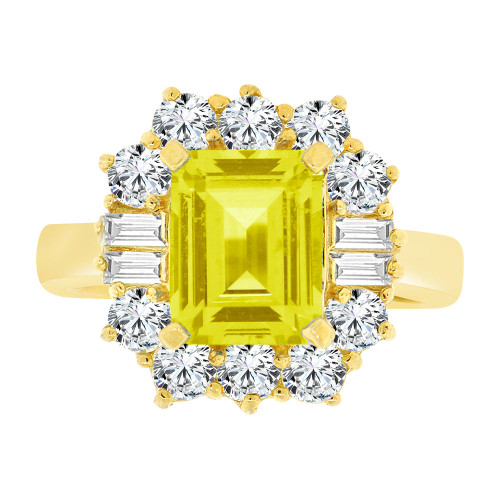 14k Yellow Gold, Fancy Estate Ring Created CZ Crystals Rectangle Yellow November (R224-111)