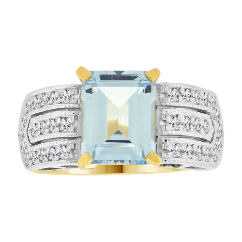 14k Yellow Gold White Rhodium, Fancy Ring Created CZ Crystals Rectangle Aqua March (R224-203)