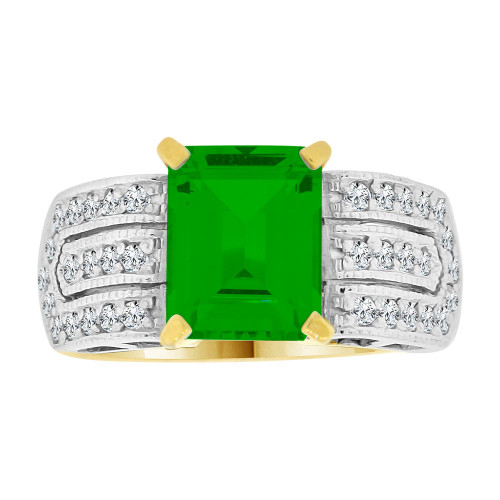 14k Yellow Gold White Rhodium, Fancy Ring Created CZ Crystals Rectangle Green May (R224-205)