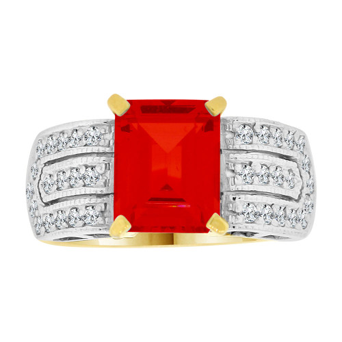14k Yellow Gold White Rhodium, Fancy Ring Created CZ Crystals Rectangle Red July (R224-207)