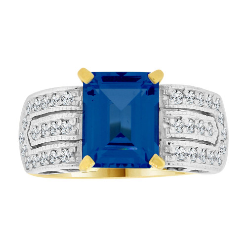 14k Yellow Gold White Rhodium, Fancy Ring Created CZ Crystals Rectangle Blue September (R224-209)