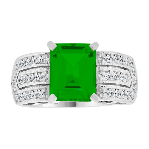14k Gold White Rhodium, Fancy Ring Created CZ Crystals Rectangle Green May (R224-255)
