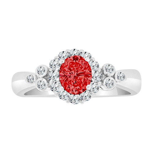 14k Gold White Rhodium, Elegant Design Cluster Ring Created Oval CZ Crystals Red (R224-457)