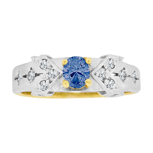 14k Yellow Gold White Rhodium, Elegant Design Dainty Ring Created CZ Crystals Oval Blue (R224-809)