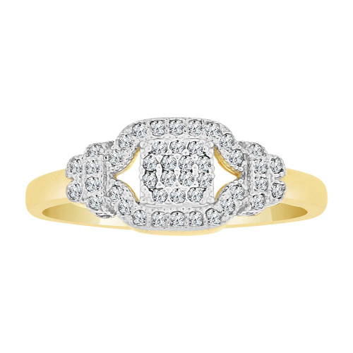 14k Yellow Gold, Dainty Lady Ring Created CZ Crystals (R225-014)