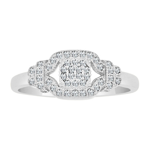 14k Gold White Rhodium, Dainty Lady Ring Created CZ Crystals (R225-064)