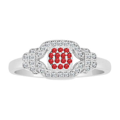 14k Gold White Rhodium, Dainty Lady Ring Created CZ Crystals Red (R225-067)