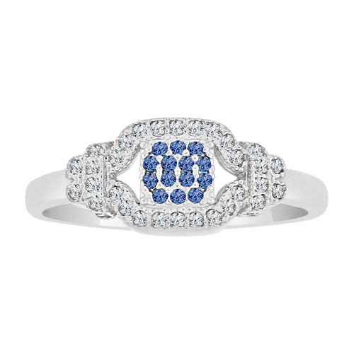 14k Gold White Rhodium, Dainty Lady Ring Created CZ Crystals Blue (R225-069)