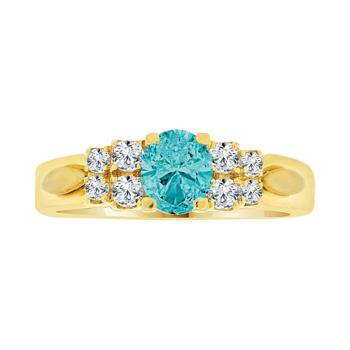 14k Yellow Gold, Simple Classic Design Ring Created Oval Shape Aqua Blue CZ Crystals (R225-103)