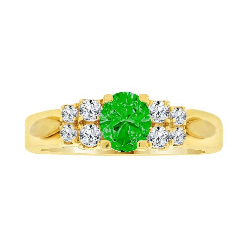 14k Yellow Gold, Simple Classic Design Ring Created Oval Shape Green CZ Crystals (R225-105)