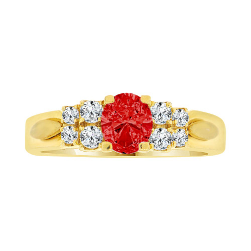 14k Yellow Gold, Simple Classic Design Ring Created Oval Shape Red CZ Crystals (R225-107)