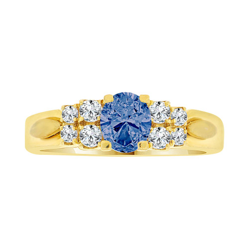 14k Yellow Gold, Simple Classic Design Ring Created Oval Shape Navy Blue CZ Crystals (R225-109)
