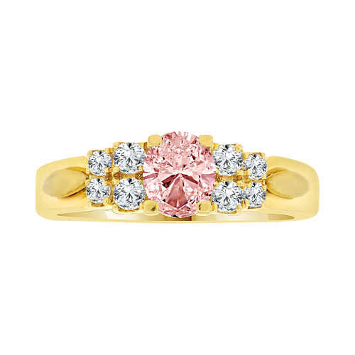 14k Yellow Gold, Simple Classic Design Ring Created Oval Shape Navy Pink CZ Crystals (R225-110)