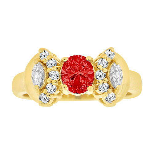14k Yellow Gold, Elegant Classic Design Ring Created Oval Shape Red CZ Crystals (R225-307)