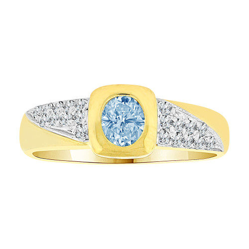 14k Yellow Gold White Rhodium, Modern Design Ring Created Oval Shape Aqua Blue CZ Crystals (R225-503)