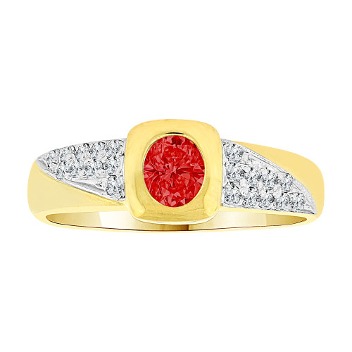 14k Yellow Gold White Rhodium, Modern Design Ring Created Oval Shape Red CZ Crystals (R225-507)