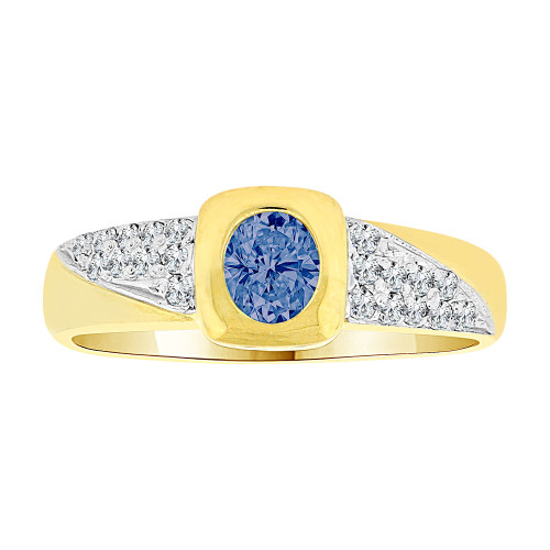 14k Yellow Gold White Rhodium, Modern Design Ring Created Oval Shape Navy Blue CZ Crystals (R225-509)