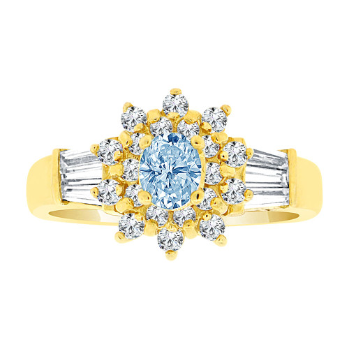 14k Yellow Gold, Fancy Cluster Design Ring Created Oval Shape Aqua Blue CZ Crystals (R225-703)