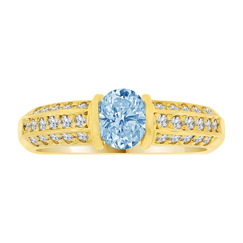 14k Yellow Gold, Simple Classic Design Ring Created Oval Shape Aqua Blue CZ Crystals (R225-803)