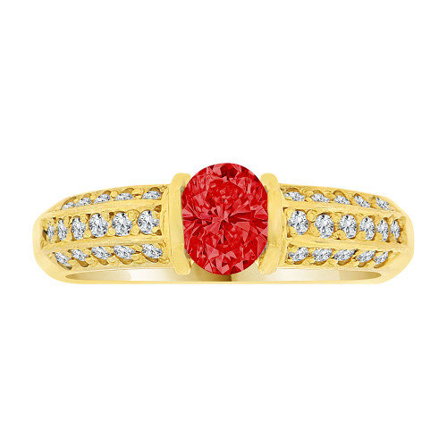 14k Yellow Gold, Simple Classic Design Ring Created Oval Shape Red CZ Crystals (R225-807)