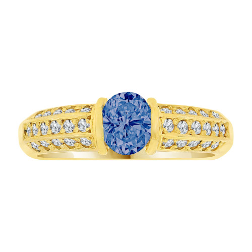 14k Yellow Gold, Simple Classic Design Ring Created Oval Shape Dark Blue CZ Crystals (R225-809)