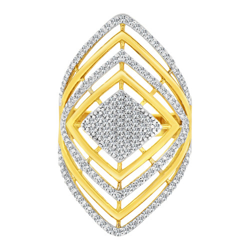 14k Yellow Gold White Rhodium, Lady Bold Fancy Ring Created Cubic Zirconia Crystals (R226-004)