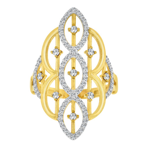 14k Yellow Gold White Rhodium, Lady Bold Fancy Ring Created Cubic Zirconia Crystals (R226-005)