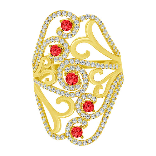 14k Yellow Gold, Lady Bold Fancy Design Ring Created White & Red Cubic Zirconia Crystals (R226-010)