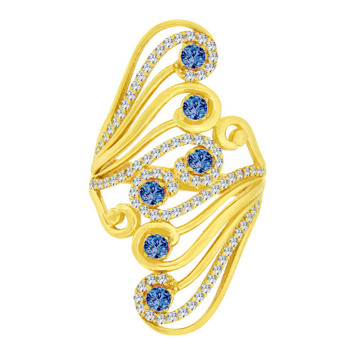 14k Yellow Gold, Lady Bold Fancy Design Ring Created White & Blue Cubic Zirconia Crystals (R226-011)