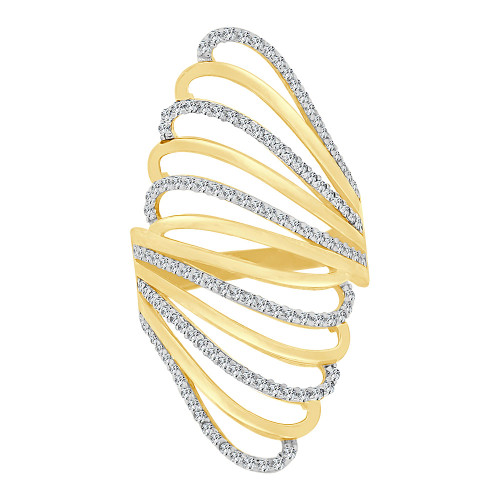 14k Yellow Gold White Rhodium, Lady Bold Fancy Layered Ring Created Cubic Zirconia Crystals (R226-012)