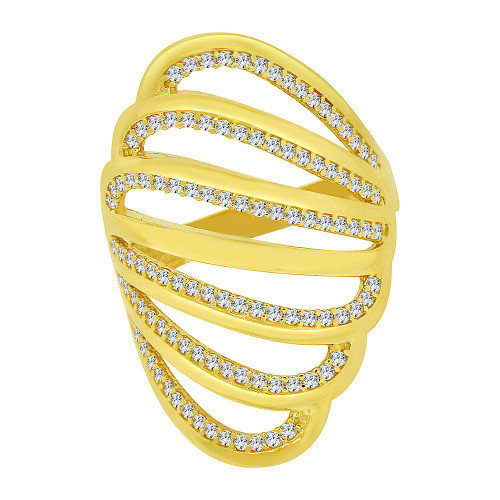 14k Yellow Gold, Lady Fancy Layered Ring Created Cubic Zirconia Crystals (R226-013)