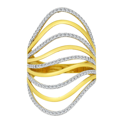 14k Yellow Gold White Rhodium, Lady Fancy Layered Ring Created Cubic Zirconia Crystals (R226-014)