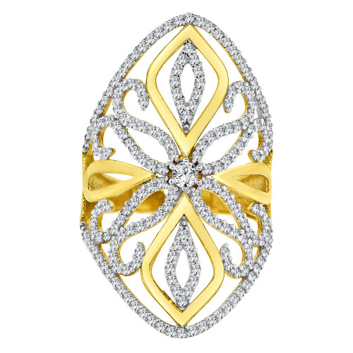 14k Yellow Gold White Rhodium, Lady Bold Fancy Design Ring Created Cubic Zirconia Crystals (R226-016)