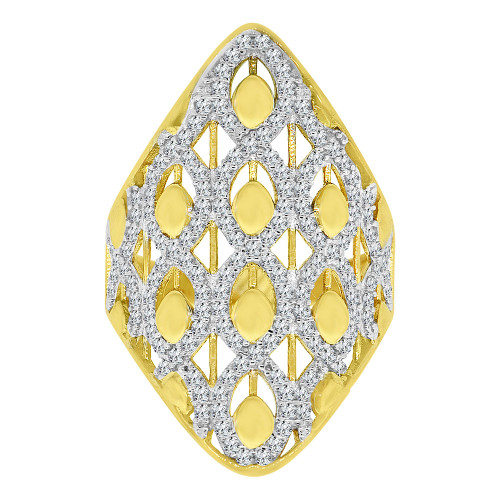 14k Yellow Gold White Rhodium, Lady Bold Fancy Design Ring Created Cubic Zirconia Crystals (R226-018)