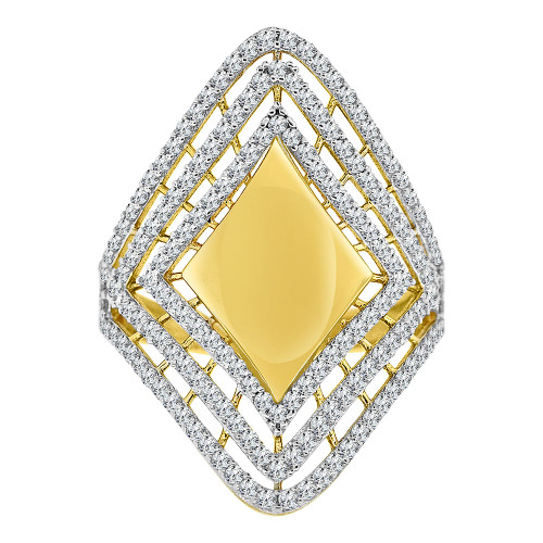 14k Yellow Gold White Rhodium, Lady Bold Fancy Design Ring Created Cubic Zirconia Crystals (R226-019)