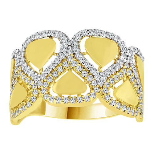 14k Yellow Gold White Rhodium, Lady Heart Band Ring Created Cubic Zirconia Crystals (R226-022)