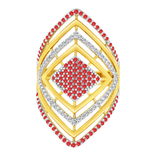 14k Yellow Gold White Rhodium, Lady Bold Fancy Ring Created Red & White Cubic Zirconia Crystals (R226-054)