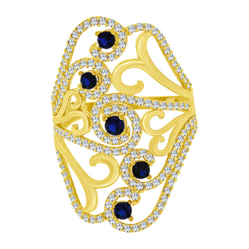 14k Yellow Gold, Lady Bold Fancy Layered Ring Created Blue & White Cubic Zirconia Crystals (R226-060)