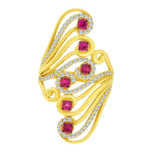 14k Yellow Gold White Rhodium, Lady Bold Fancy Ring Created Red & White Cubic Zirconia Crystals (R226-061)