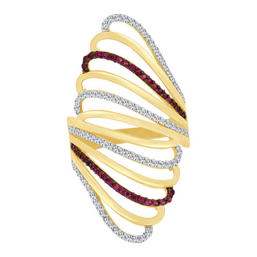 14k Yellow Gold, Lady Bold Fancy Layered Ring Created Red & White Cubic Zirconia Crystals (R226-062)