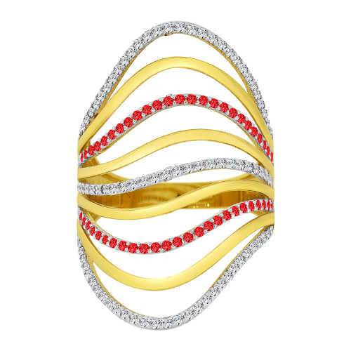 14k Yellow Gold, Lady Fancy Layered Ring Created Red & White Cubic Zirconia Crystals (R226-064)