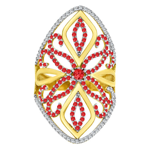 14k Yellow Gold, Lady Bold Fancy Design Ring Created Red & White CZ Crystals (R226-066)