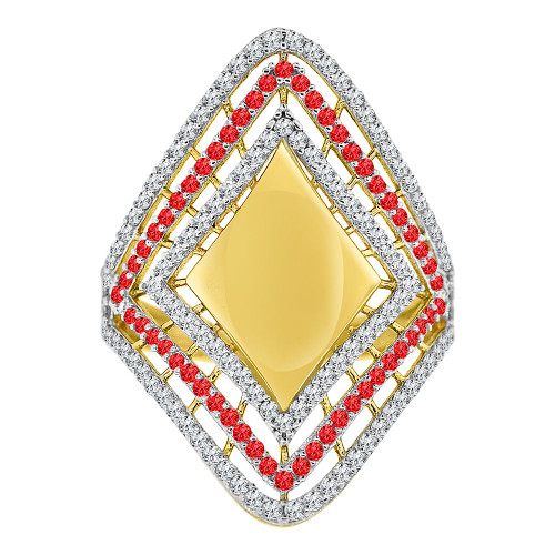 14k Yellow Gold White Rhodium, Lady Bold Fancy Design Ring Created Red & White CZ Crystals (R226-069)