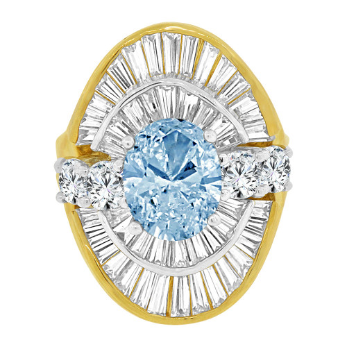 14k Yellow Gold White Rhodium, Fancy Estate Ring Created Oval Shape Aqua Blue Color CZ Crystals (R226-203)