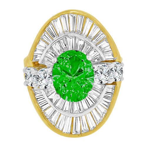 14k Yellow Gold White Rhodium, Fancy Estate Ring Created Oval Shape Blue Green Color CZ Crystals (R226-205)