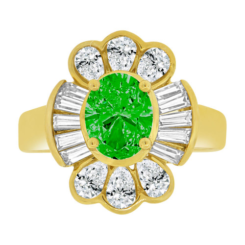 14k Yellow Gold, Fancy Estate Style Ring Created Oval Green Color CZ Crystals (R226-305)