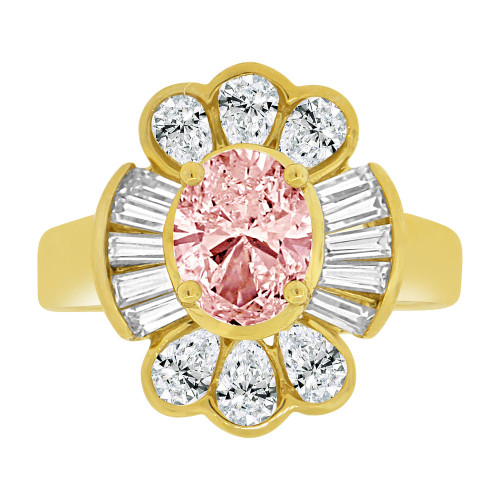 14k Yellow Gold, Fancy Estate Style Ring Created Oval Pink Color CZ Crystals (R226-310)