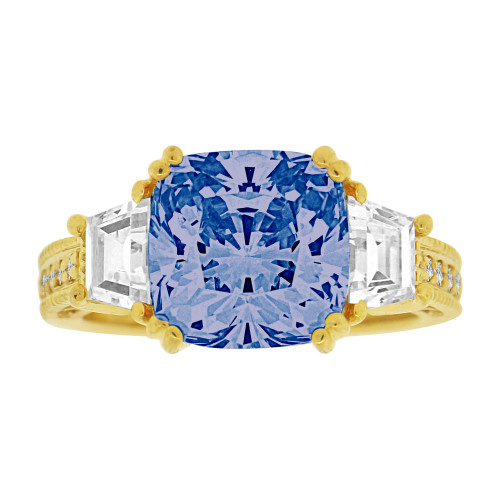 14k Yellow Gold, Fancy Estate Style Ring Created Rounded Square Blue Color CZ Crystals (R226-609)