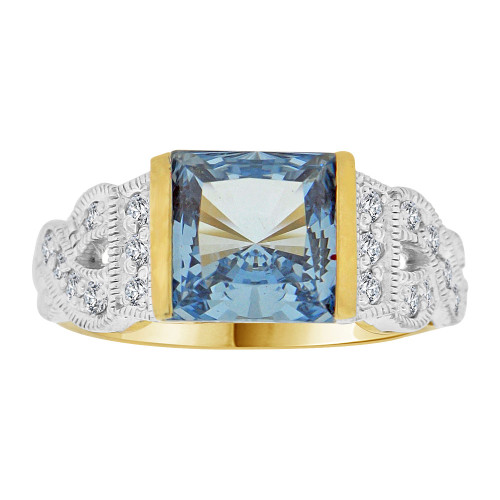 14k Yellow Gold White Rhodium, Fancy Ring Created Princess Cut Aqua Blue Color CZ Crystals (R226-703)