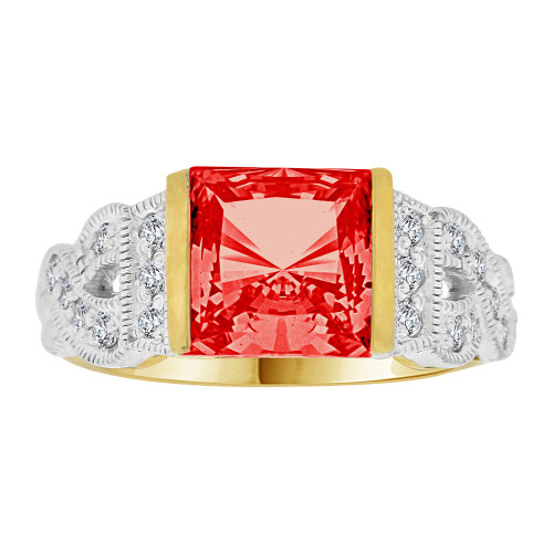 14k Yellow Gold White Rhodium, Fancy Ring Created Princess Cut Red Color CZ Crystals (R226-707)